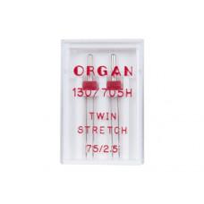 Игла Organ TWIN Stretch 75/2,5
